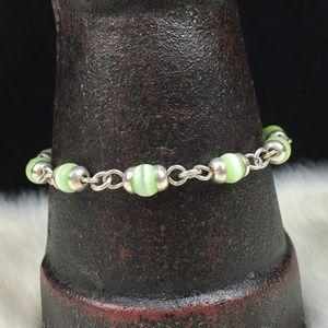 Sterling Silver Mexico Green Cat's Eye Bracelet